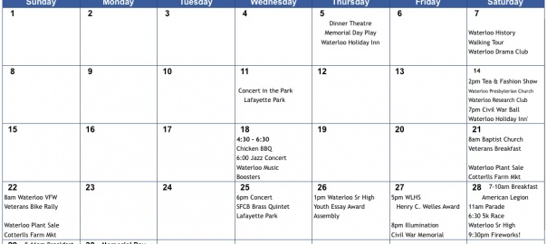 May Calendar Of Events : Calendar of events for may waterloo ny