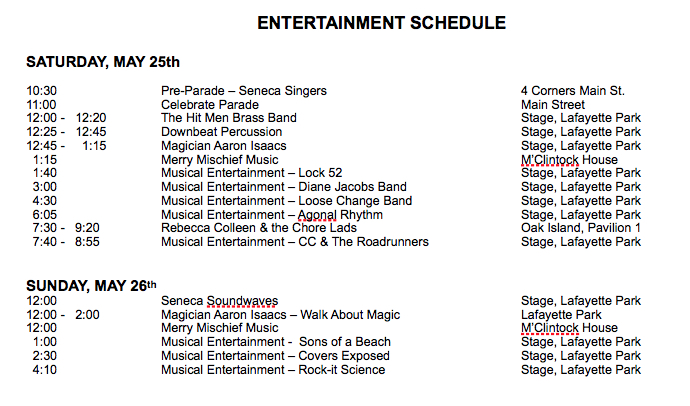 Entertainment Schedule | Waterloo, NY