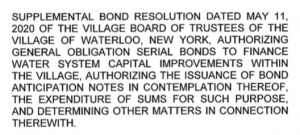 Supplemental Bond Resolution to be approved at Monday's Board Meeting